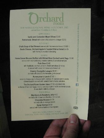 The Orchard Room: Menu