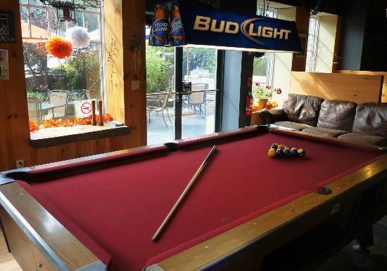 Smokestack Grill: Pool Table and Preview of our Patio..