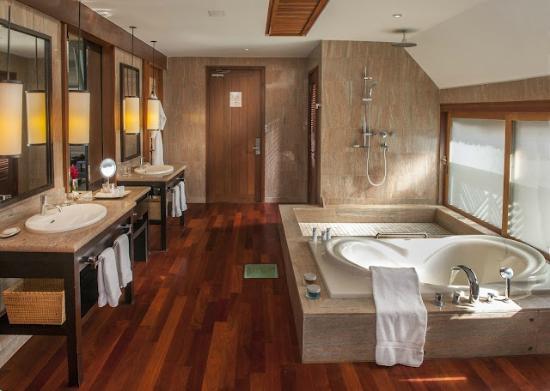 The St. Regis Bora Bora Resort: Luxurious bathroom of all villas