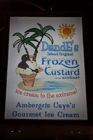 DandE's Frozen Custard & Sorbet: sign