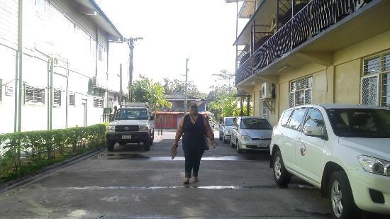 Pasefika Inn: View from Hotel Reception - looking towards the main road
