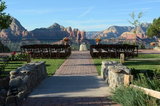 Sky Ranch Lodge: View from observation deck (set up for wedding)