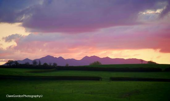 The Alders Homestay : Mount Pirongia at sunset. View from deck.