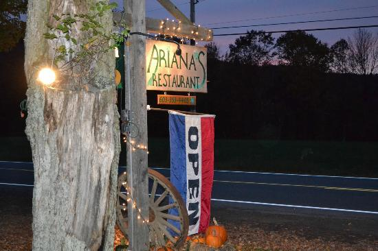 Ariana's Restaurant: Roadside sign