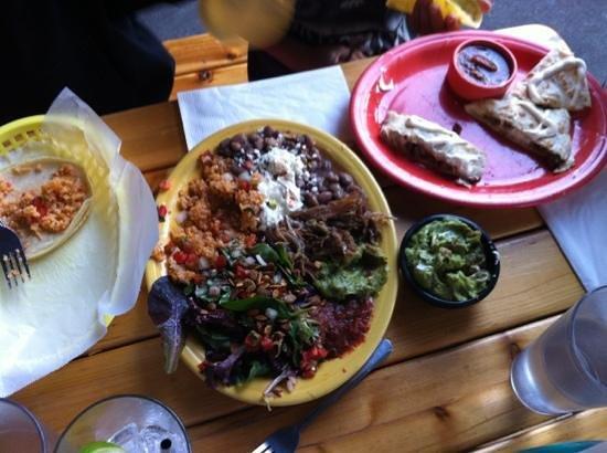 Por Que No: partly devoured Bryan's dish. Yum!