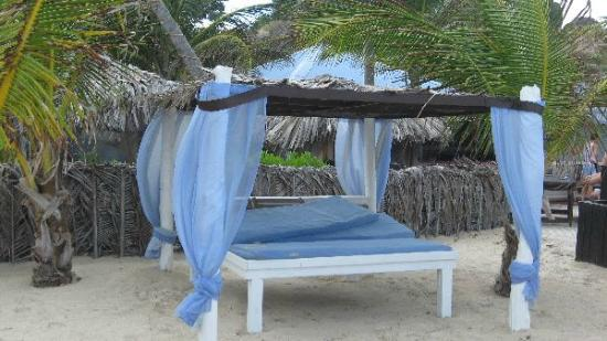 Orient Bay Beach: Baldaquin proche de la plage et d'un resto.