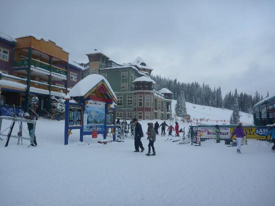 Main Village in Silver Star with Snowbird Lodge in the center