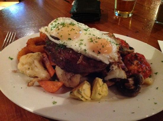 Speights Ale House: ribeye steak with vegetables