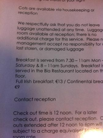 Blooms Hotel: Breakfast Prices.