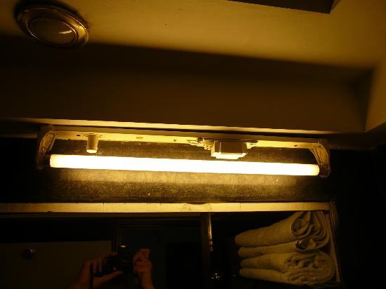 The Shipra International: Dunkles Badezimmer ohne abgedeckte Leuchten