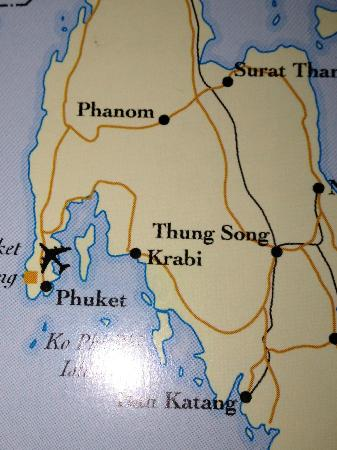 Phulay Bay, A Ritz-Carlton Reserve: Map showing Krabi and Phulay Bay