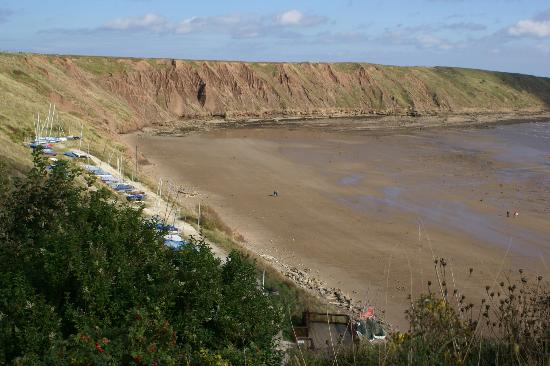 Looking over Filey Beach at the Badlands