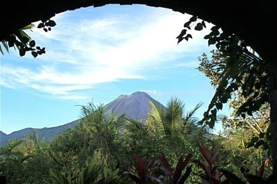 The Sanctuary Spa: Arenal Volcano Costa Rica from the lobby of The Springs. Photo by Bill Beard