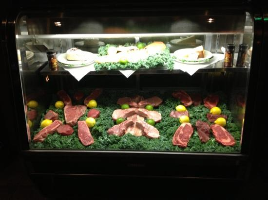 The Chop House: steaks on display