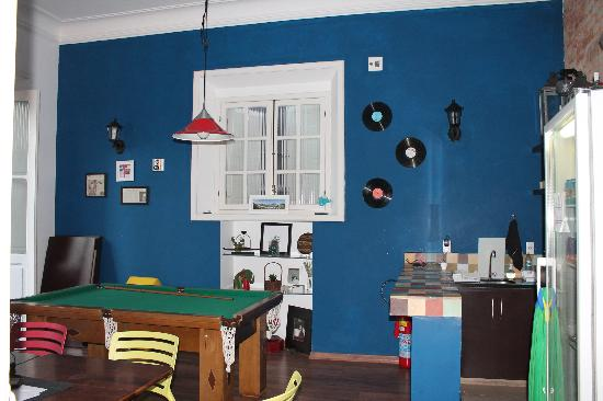 Bossa in Rio Hostel: the pooltable room and bar common area they also do breakfast here in the morning and cover the