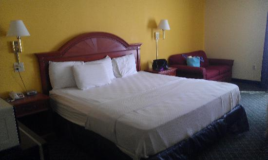 La Quinta Inn North Myrtle Beach: King sized bed and loveseat pull-out couch
