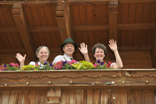 "Hotel Pension Anna: The ""crew"" on balcony"
