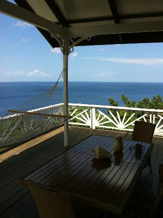 Stonefield Estate Resort: view from deck in flamboyant villa