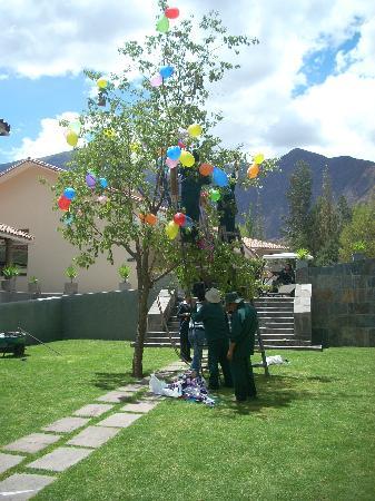 Aranwa Sacred Valley Hotel & Wellness: Armando el árbol para la Yunza
