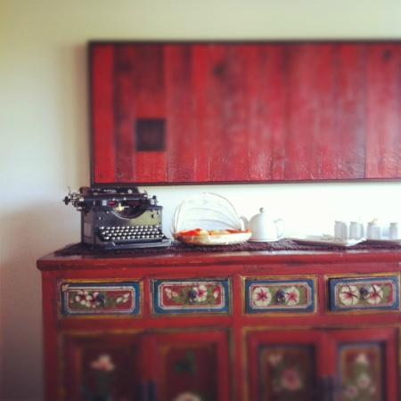 AWAY in the County: Homemade cornmeal muffins and the morning menu typed daily on this typewriter.