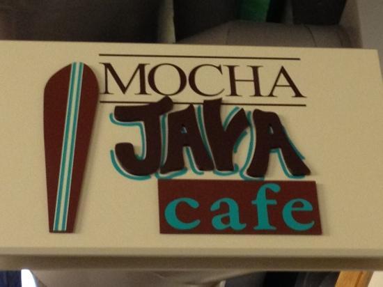 Mocha Java Cafe: sign inside