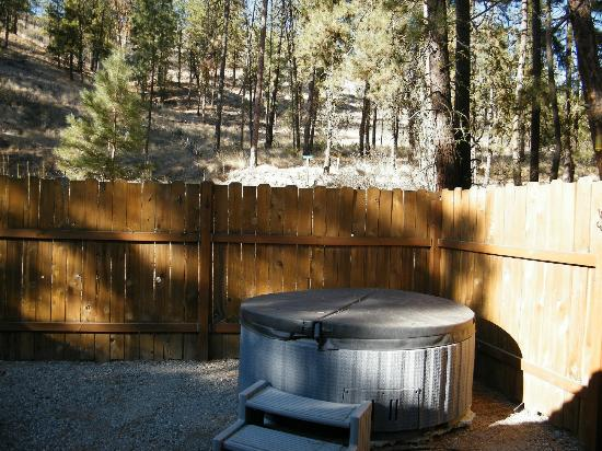 Uncle Tim's Cabins : The hot tub and private seating area