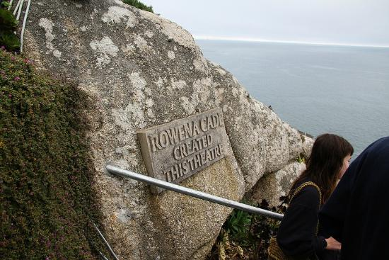 Sign for the creator of the Minack Theatre
