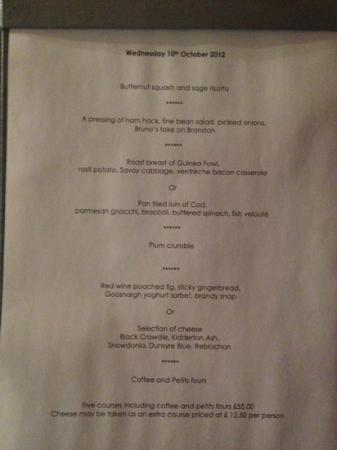 The Torridon 1887 Restaurant: menu