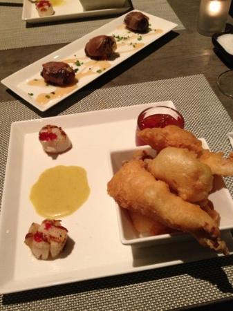 Restaurant TABLE : haddock tempura w maple sweet chilli sauce & blue cheese stuffed dates