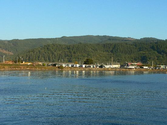 Harborview Inn & RV Park: View of Inn and RV Park from the pier