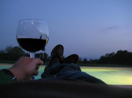 La Canonica di Fungaia: Me enjoying my Brunello at poolside.