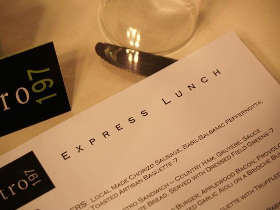 Bistro 197: Lunch