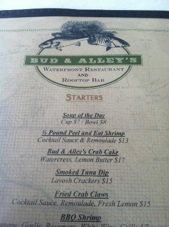 Bud and Alley's : menu