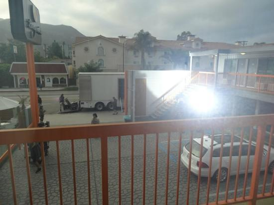 The Tangerine: View From Room - Motel During Filming Production - Spotllight into Room at 7am