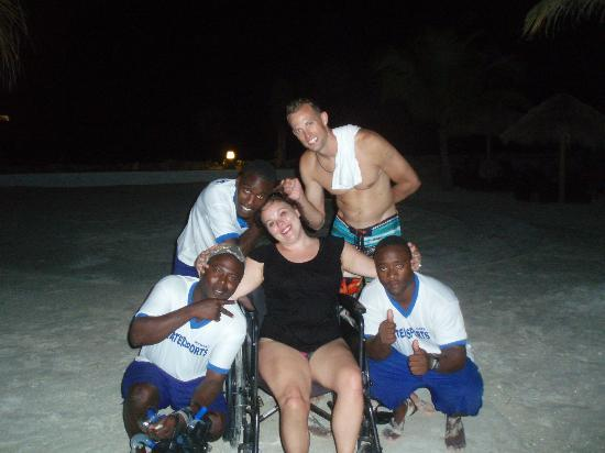 Secrets St. James Montego Bay: The captains water team carrying me in my wheelchair