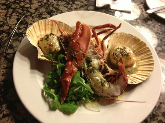 Fishers in the City: Hand Dived Orkney Scallops and half of a Lobster Tail