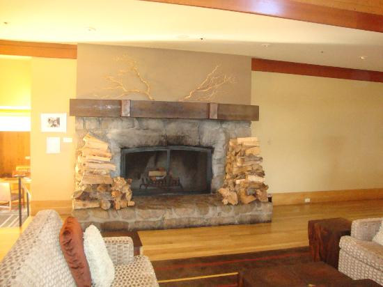 Hyatt Residence Club Carmel, Highlands Inn: Fireplace in the hotel lobby area