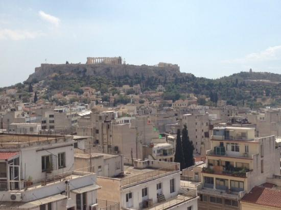 Athens Center Square: View of the Acropolis from the rooftop terrace