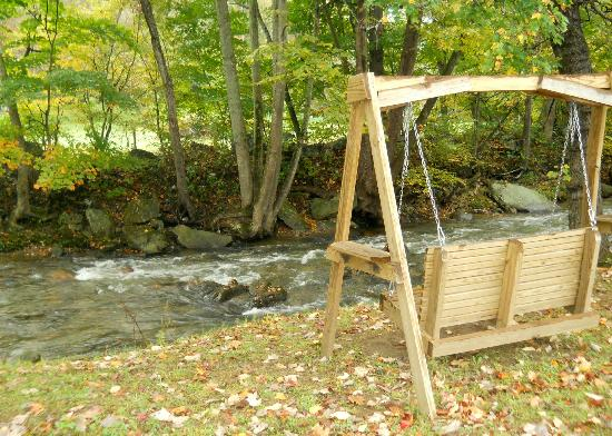 The Valley Inn: swings by the creek