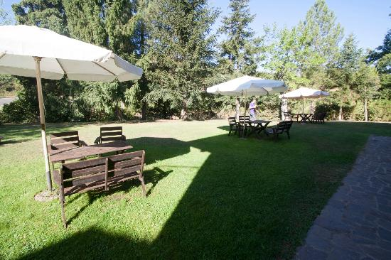Castello di Querceto : Il giardino con i tavoli per mangiare