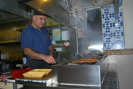 Azure Mediteranean Restaurant: Recep the chef at work.