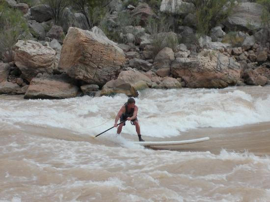 Outdoors Unlimited Grand Canyon Rafting: Ben the guide on standing wave 