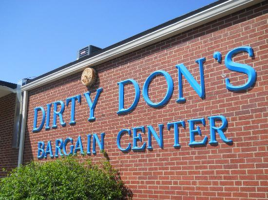 Dirty Don's Bargain Center: Sign on the building.