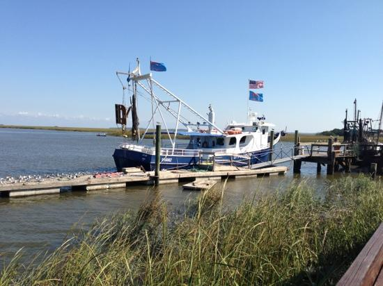 shrimp boats docked outside the restaurant - Picture of