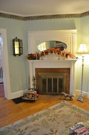 Canterbury Cottage: Living room fireplace