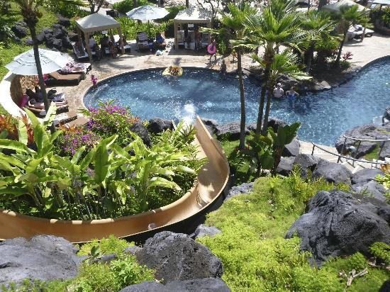 The famous water slide picture of grand hyatt kauai for A touch of elegance salon kauai