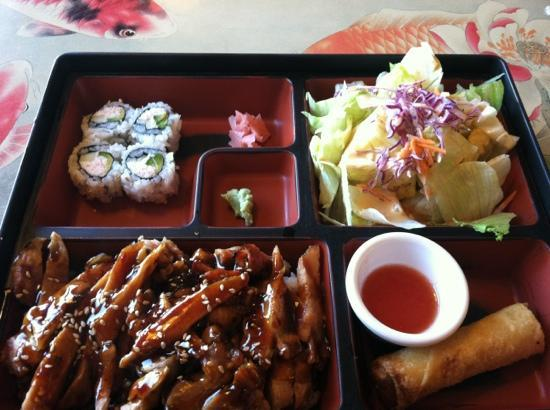 Ginger's Asian Kitchen: Bento box spicy chicken.