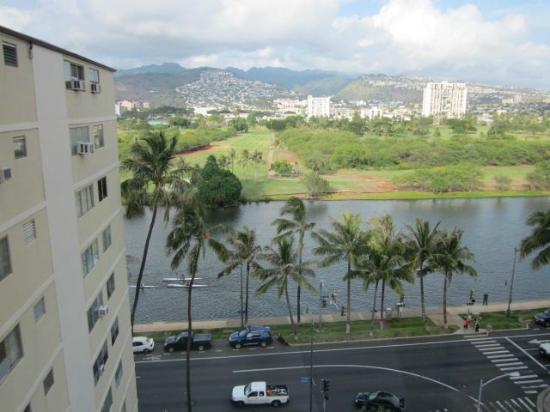 Aqua Aloha Surf Waikiki: View from corner window w/kyakers on Canal
