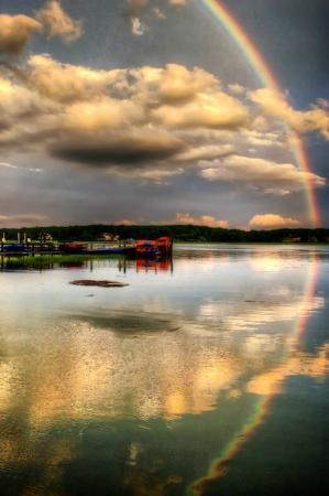 Up the Creek Pub & Grill: Rainbow in July from Up the Creek Pub at Broad Creek Marina