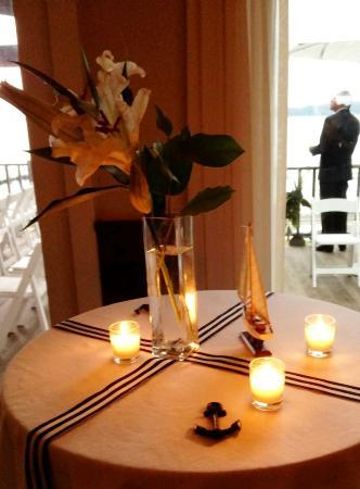 The Pridwin Hotel: Stand up table on the dance floor with very cute nautical theme